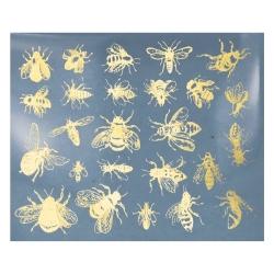 Decal gold Bees leaf 10x13cm