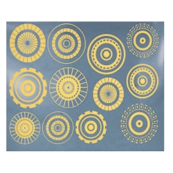 Decal gold Circle large #1 leaf 10x13cm